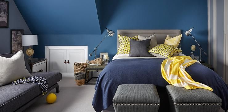 Gray And Blue Bedroom yellow, gray and blue bedroom features walls painted blue lined
