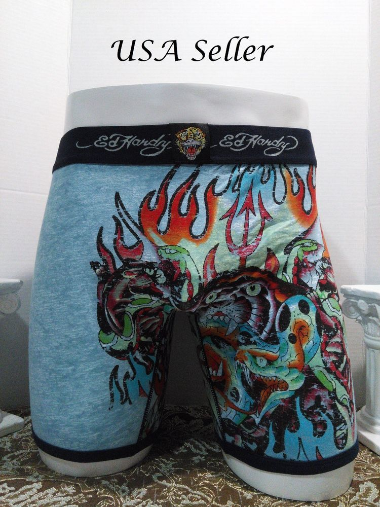 5e42799a5d Ed Hardy Men's Devil Tiger on Flames Print Boxer Briefs Size Small - 10%  off #EdHardy #BoxerBrief