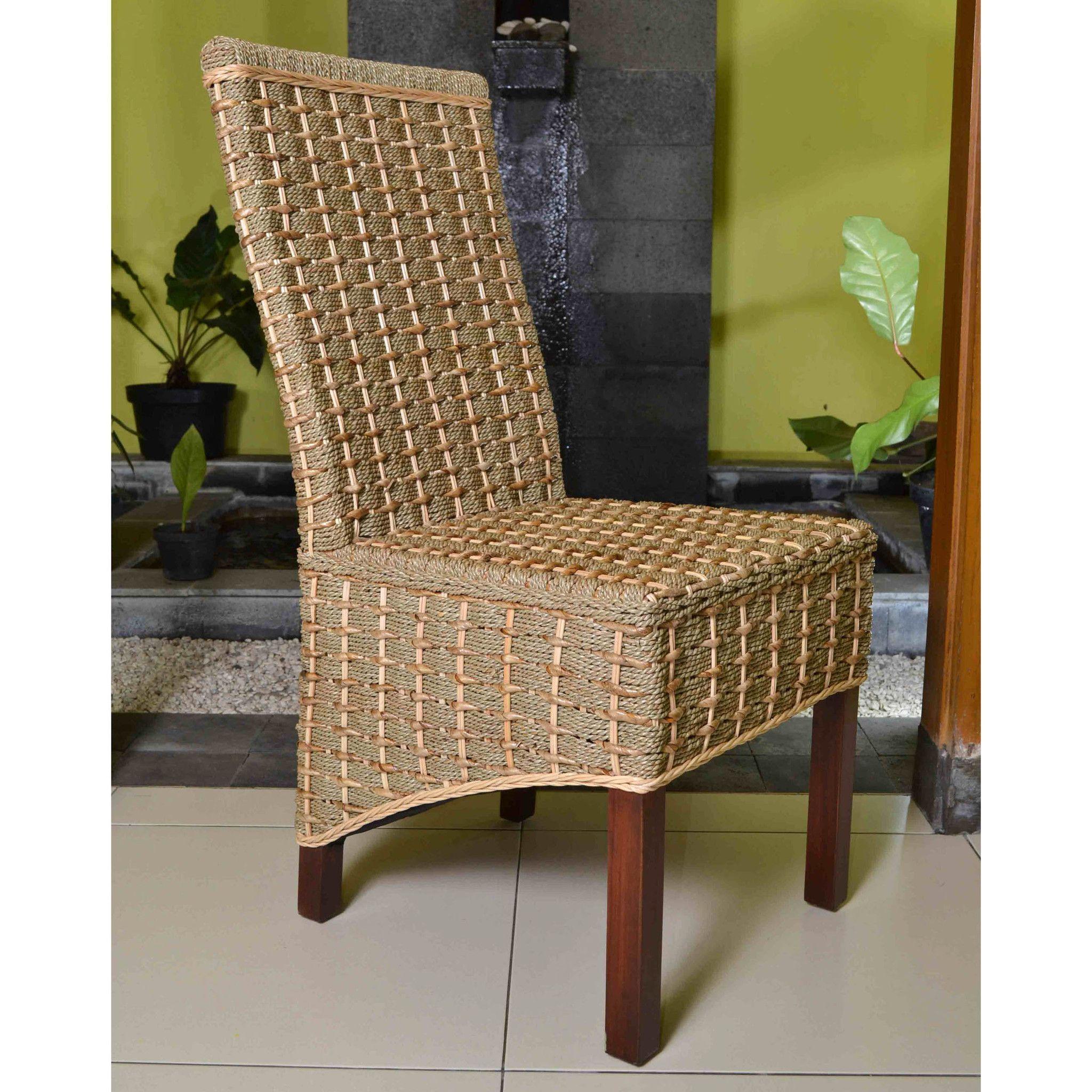International Caravan Set Of Two Bayu Banana U0026 Seagrass Dining Chairs