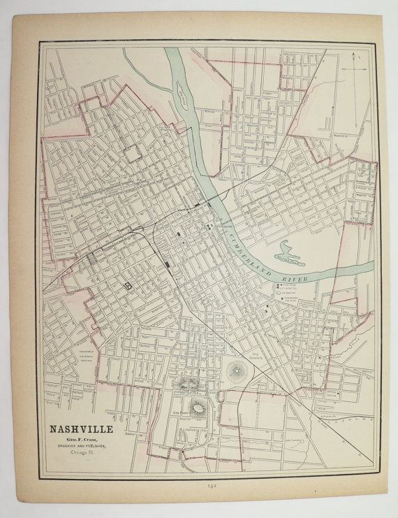 Antique Nashville Map, Memphis TN Map 1891 Vintage Map, City Street on