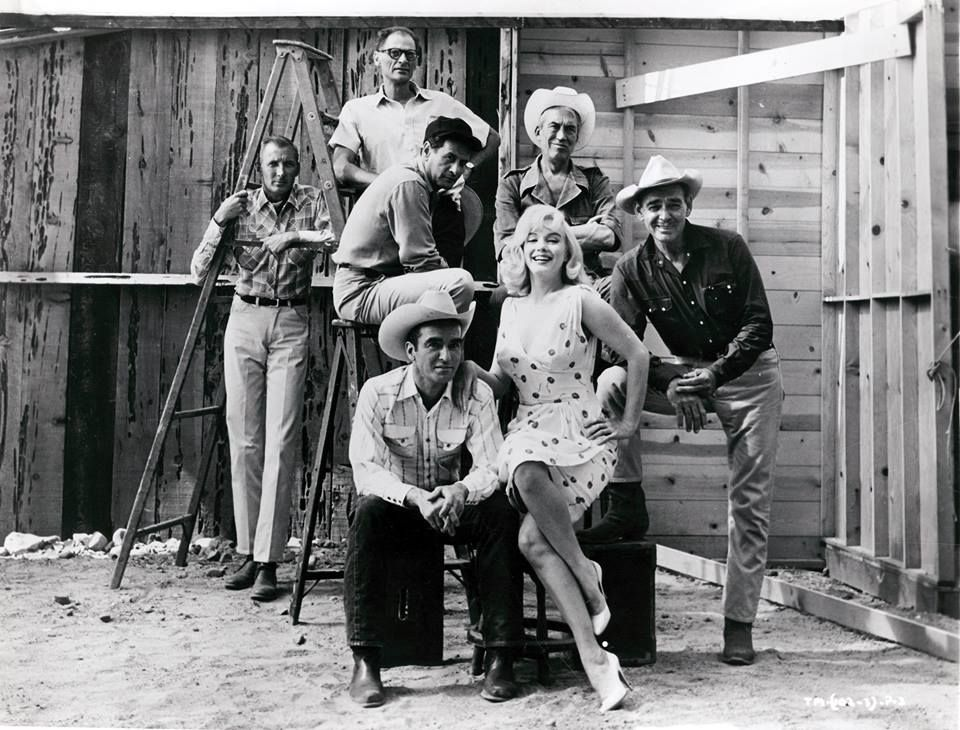 Marilyn and the cast and crew in a publicity photo for The