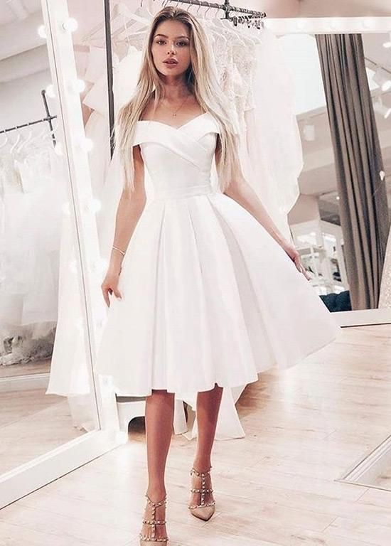 Wedding Dresses Simple Smart Satin Off The Shoulder Neckline Ball Gown Wedding Dresses Midi Bridal Uk In 2020 Knee Length Wedding Dress Wedding Dresses Simple Ball Gowns Wedding