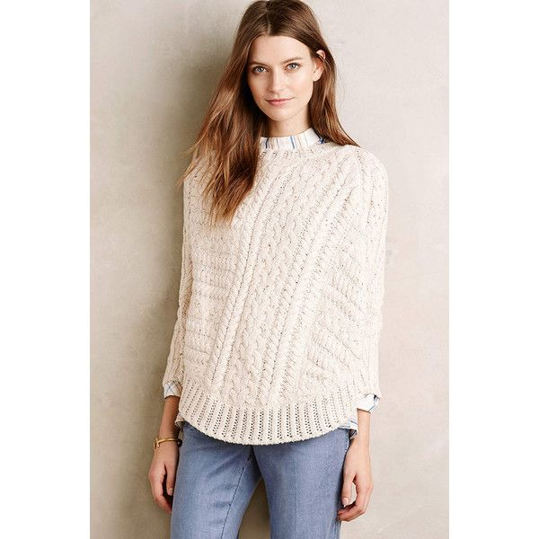 Angel of the North Curved Cables Poncho ($118) ❤ liked on Polyvore featuring outerwear, ivory, cable knit pullover, cable knit poncho, cable pullover, pink poncho y sweater pullover