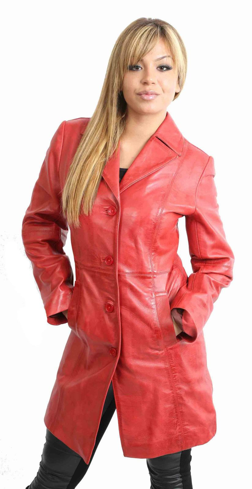 Womens Real leather Coat Ladies Fitted 3/4 Length Jacket