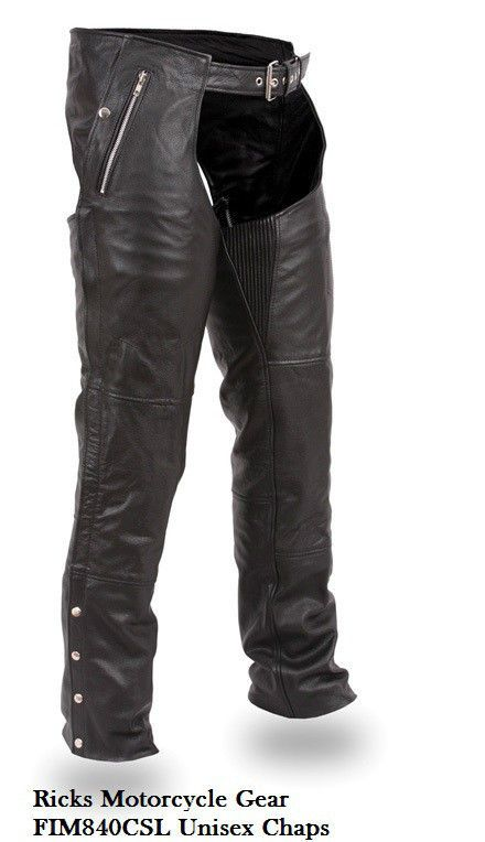 Unisex Chaps Soft Milled Cowhide 1 2 1 3mm Ultra Deep Pockets Fmc Fim840csl Fmc Great Motorcycle Chaps Motorcycle Chaps Chaps Leather Pants