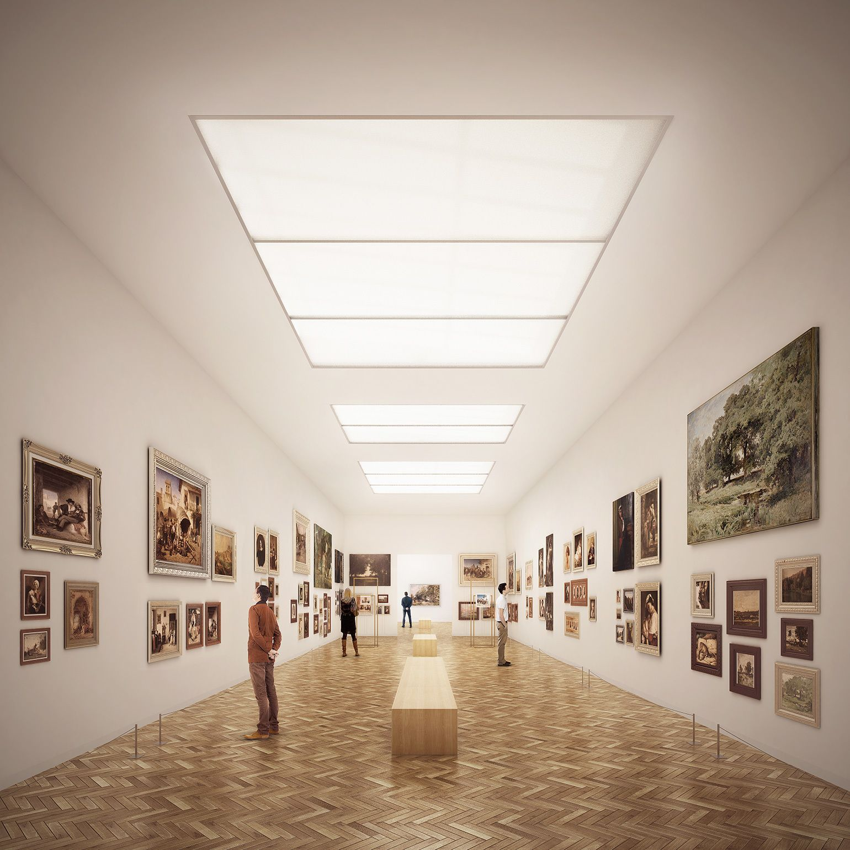Pin Nominomis Rendering Interior Art Museum City