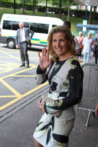 The Countess of Wessex in her Armani dress at the Leeds Children's Hospital on Wednesday.