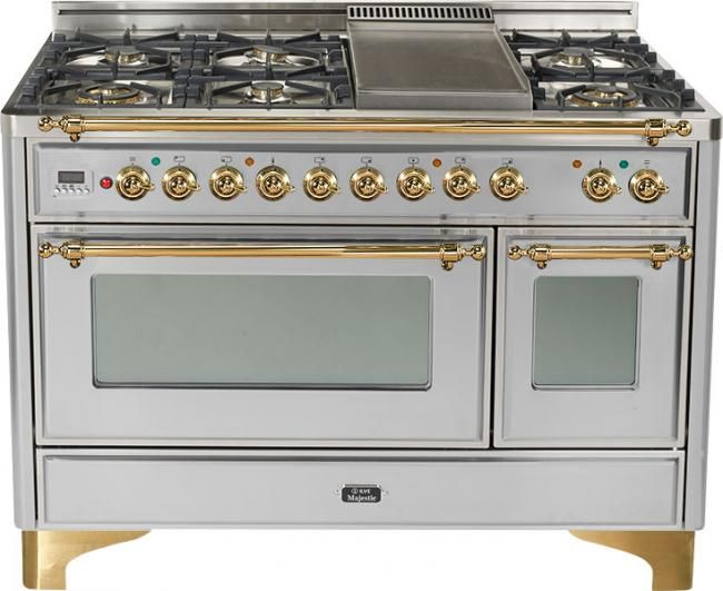 My Beautiful Ilve Italian Range 6 Burners With Brass Fittings Ovens Which Heat Quickly And Full Length W Dual Oven Dual Fuel Ranges Kitchen Decor