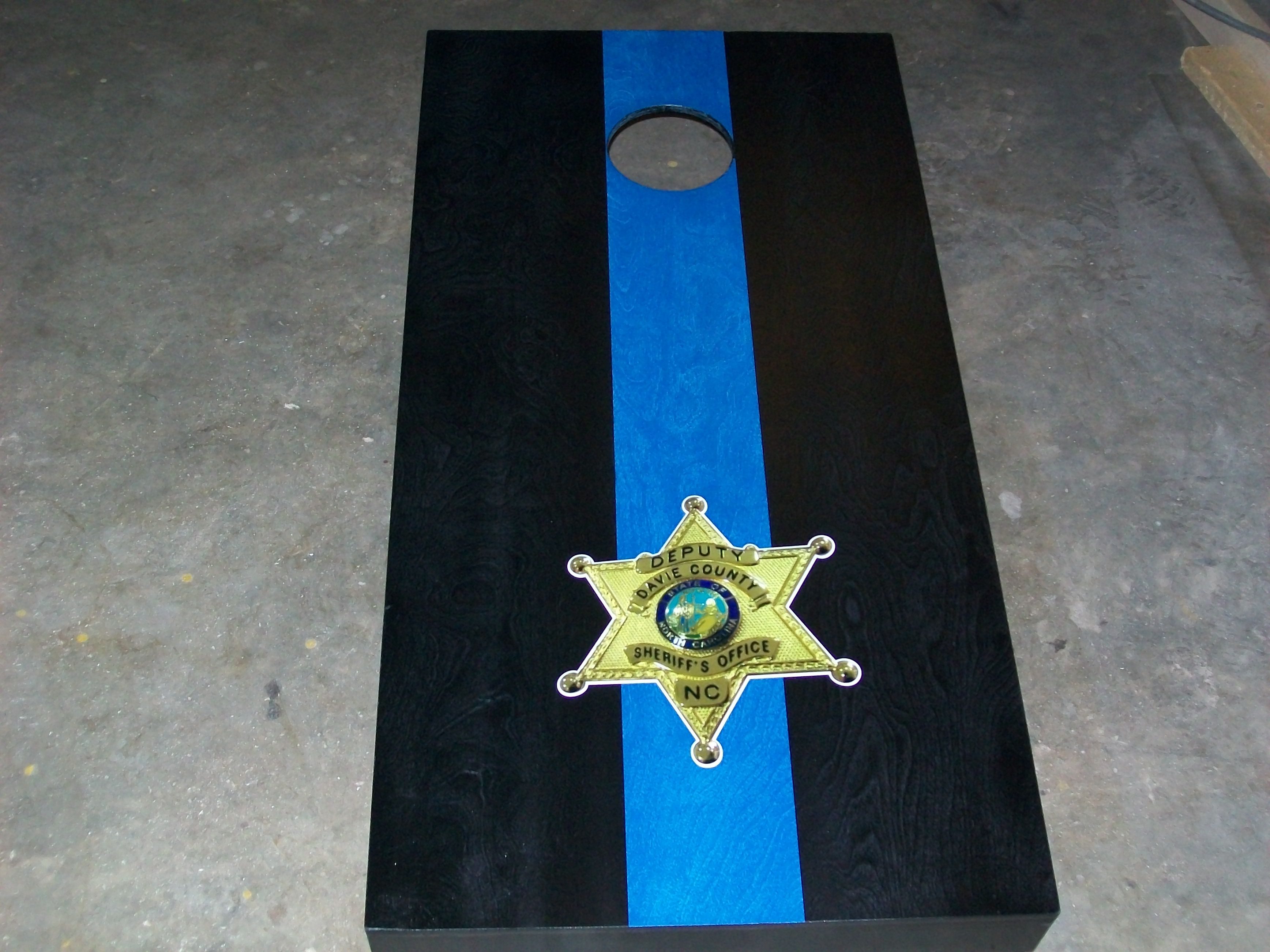 thin blue line cornhole set customize it by adding your department badge or patch - Cornhole Sets