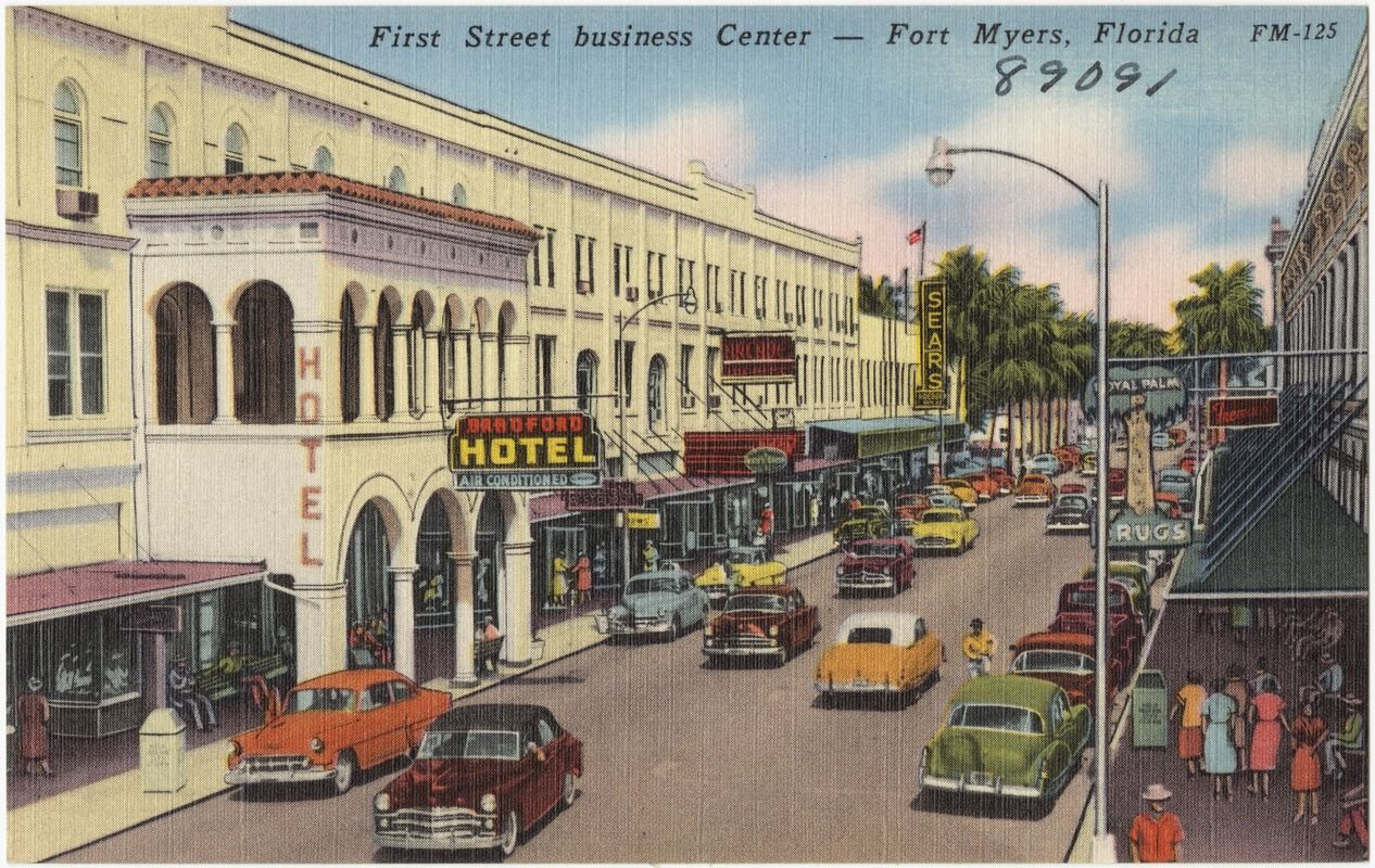 First Street business center- Fort Myers, Florida, digitalcommonwealth.org, Florida, Tichner Bros Post Cardf Collection