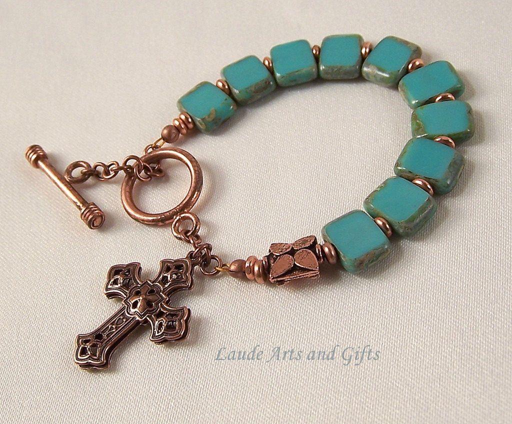 Rosary bracelet turquoise bohemian glass copper adjustable