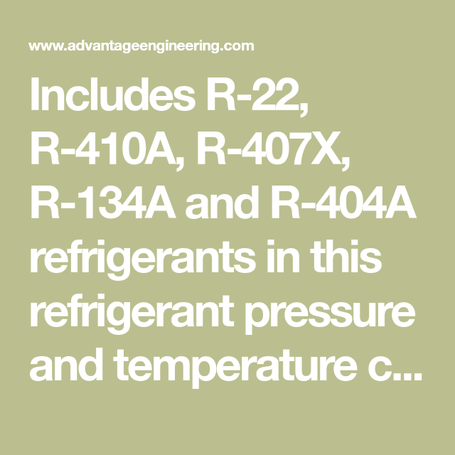 Includes R-22, R-410A, R-407X, R-134A and R-404A