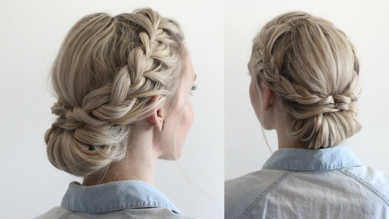 Double Braided Updo Braided Hairstyles Updo Medium Length Hair Styles Medium Hair Styles