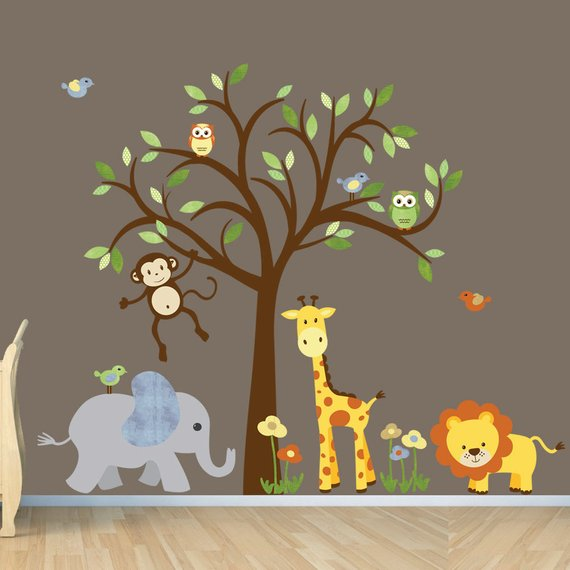 gender neutral wall decal, safari wall decal, tree wall decal