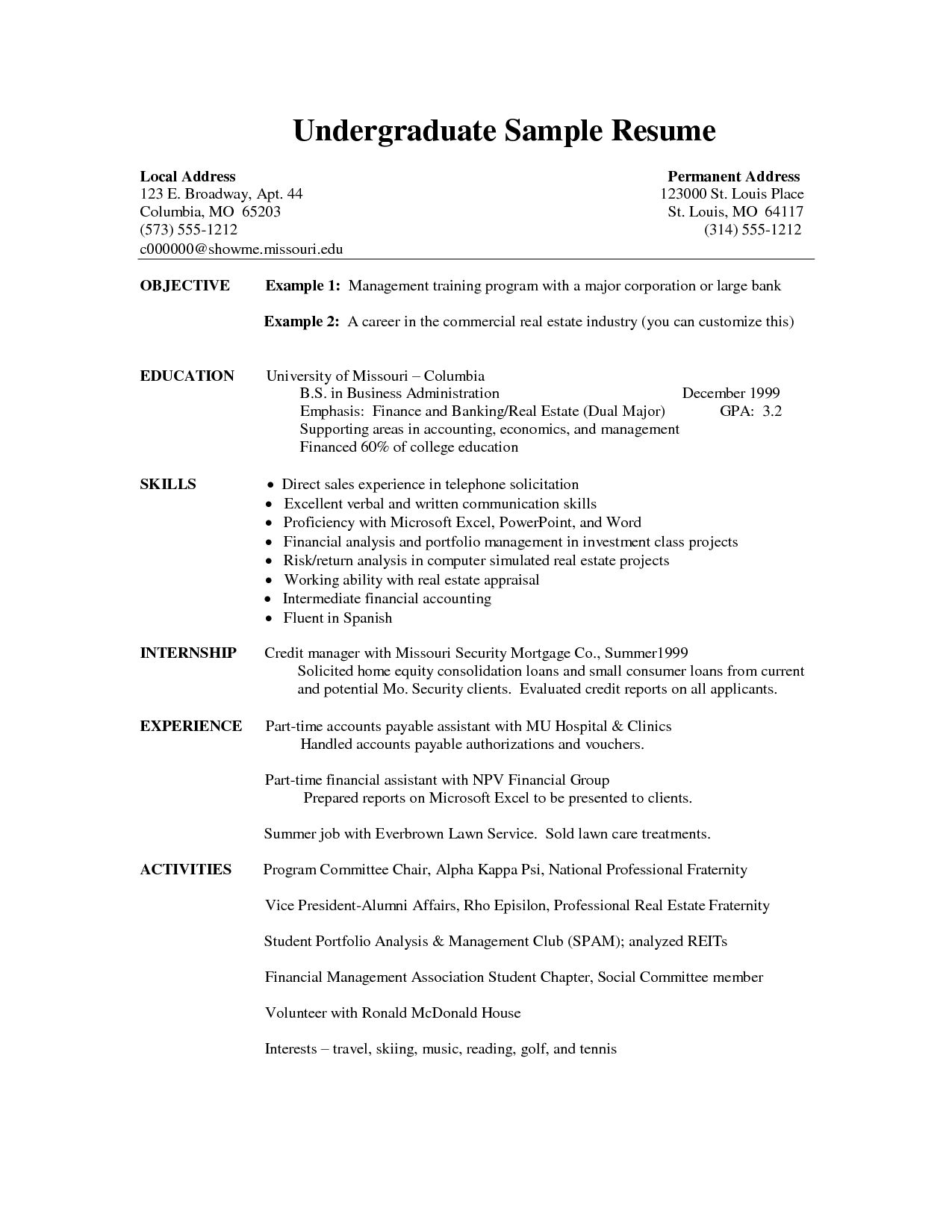 Undergraduate Resume Template Word Sle Cover