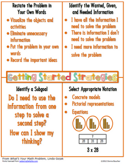 Math ~ Getting Started Strategies ~ Free pdf page