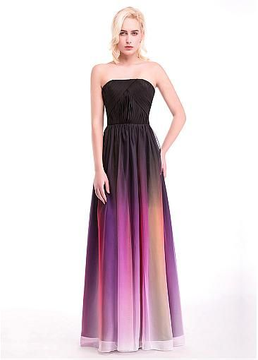 In Stock Gradient Chiffon Strapless Neckline Prom Dresses With Pleats