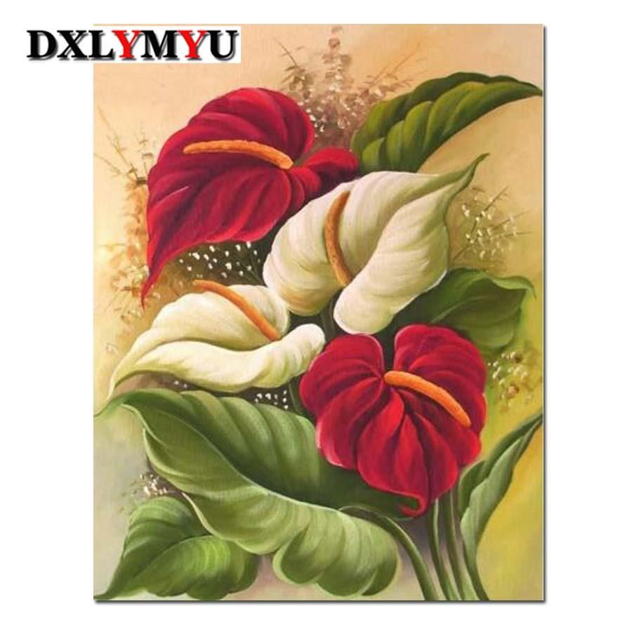 Diy Diamond Painting Red And White Anthurium Flowers Square Drill 3 Kit Sizes To Pick From Cross Paintings Flower Painting Painting