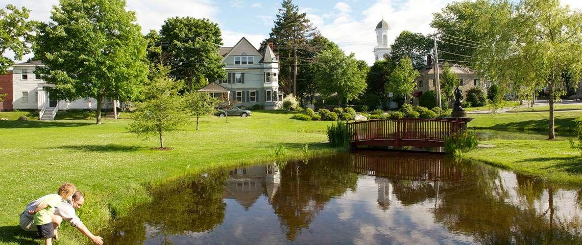 View of the Kismet Inn from the lovely park across the
