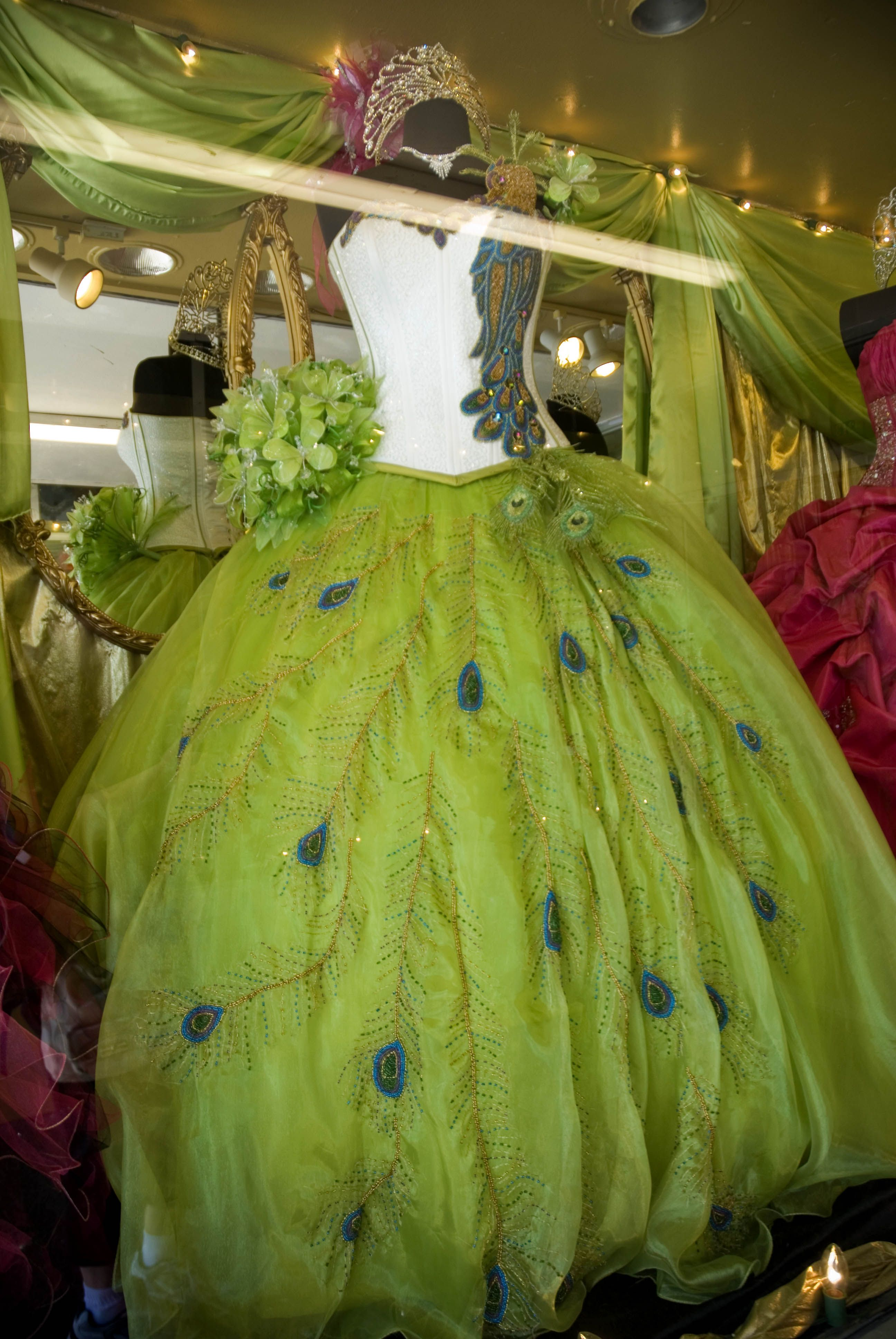 Peacock themed Quinceanera dress ~ love! Wow, can I have Ball for ...