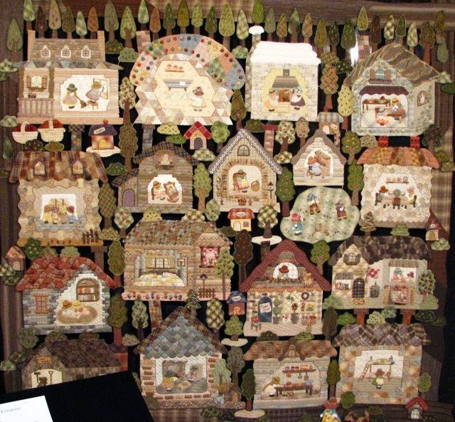 """""""handmade"""" houses ~open up to look at tons of quilts from a show ~ wonderful"""