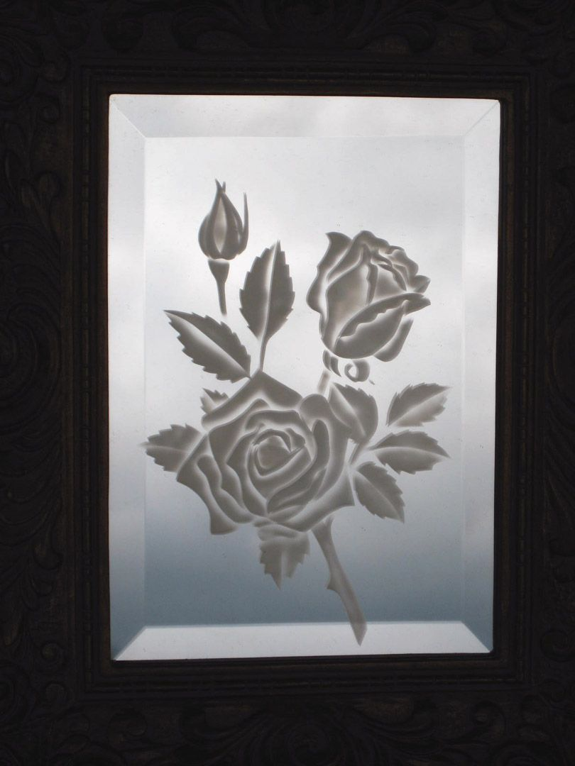Image detail for glass etched roses on small beveled for Mirror glass design