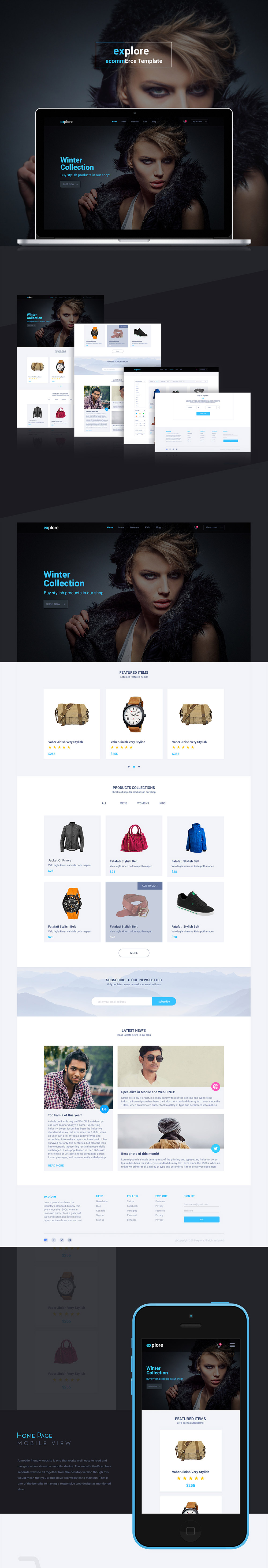 Cool Simple Ecommerce Website Templates Free Psd Set Download