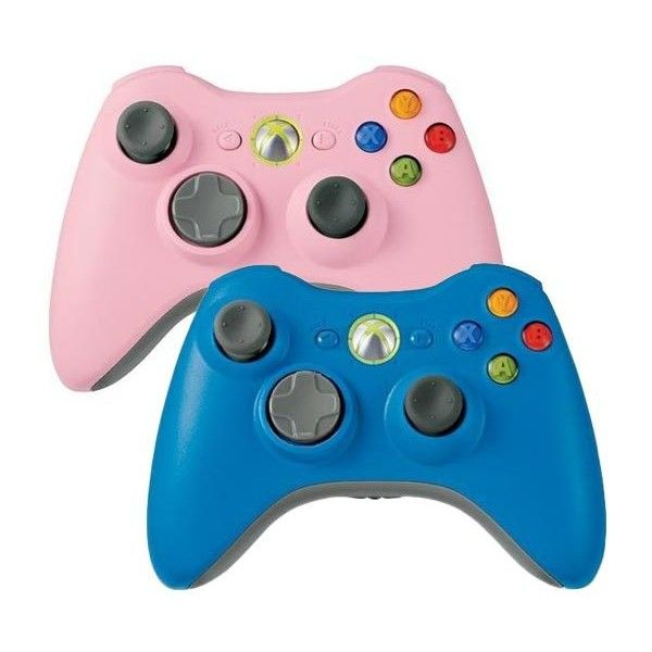 Pink Blue Xbox 360 Controllers Now Available ❤ liked on Polyvore featuring electronics, fillers, games, accessories and video games