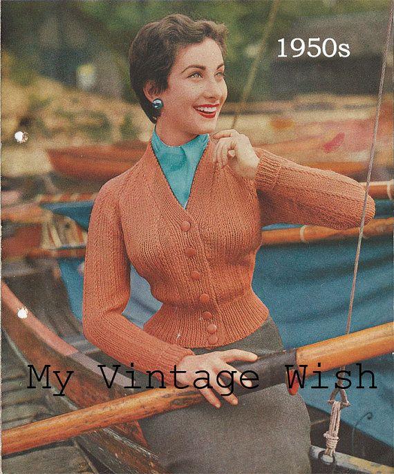 1950\'s Cardigan Vintage Knitting Pattern - PDF Instant Download ...