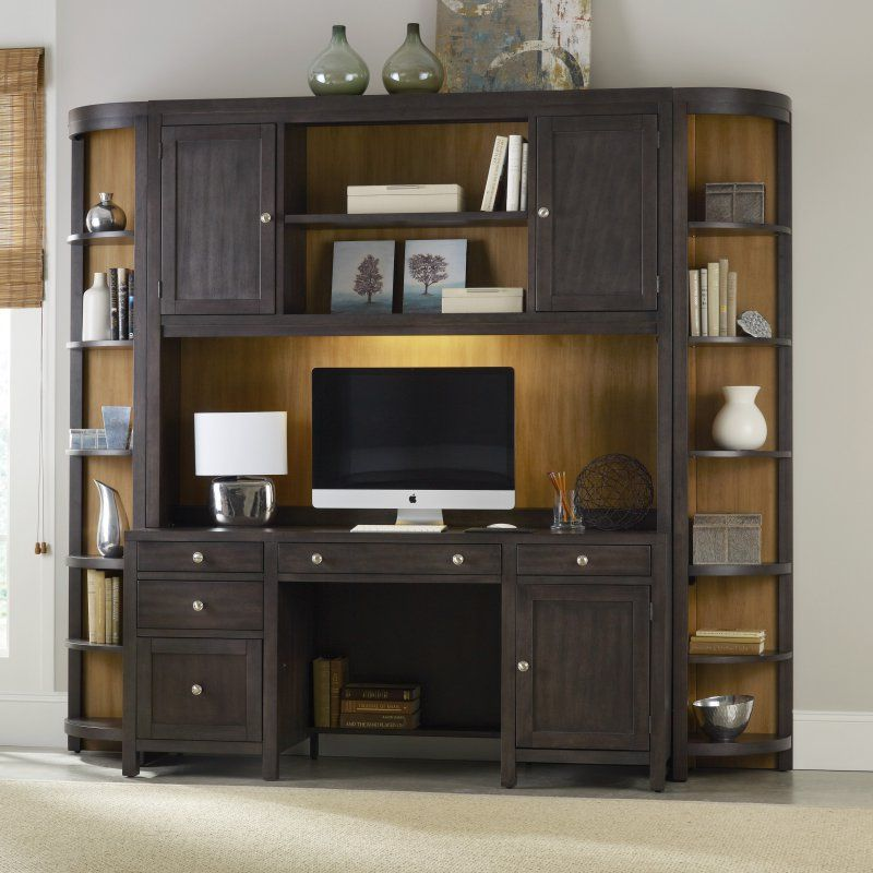 Hooker Furniture South Park Executive Computer Desk with Optional Hutch & Corner Bookcases - Honey Maple - HOOK2371