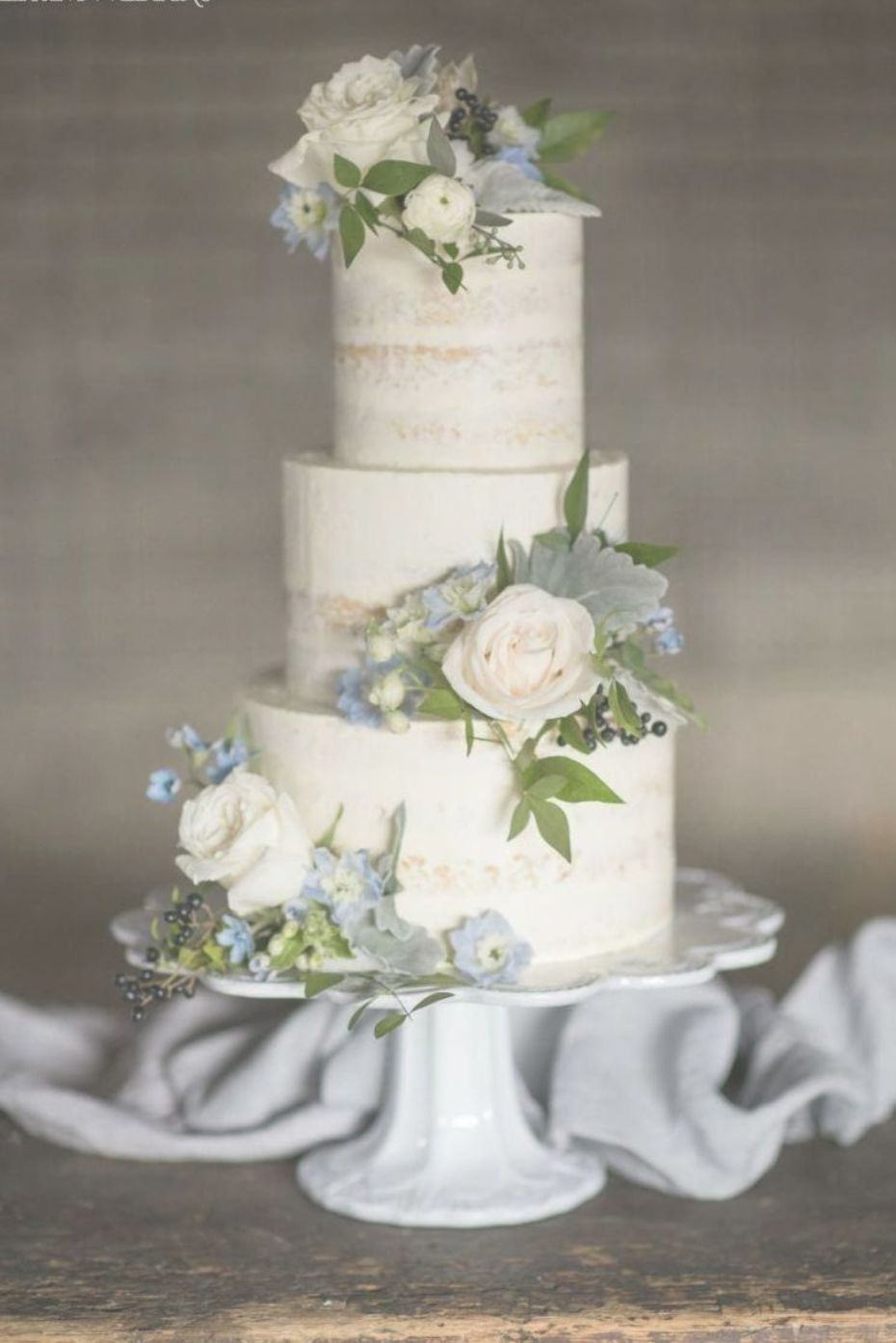 Rustic Wedding Cake With Real Flowers Something Blue Wedding Theme With Greenery Wedding Cake Flowers Blue Wedding Cake Dusty Blue Green Wedding Cake