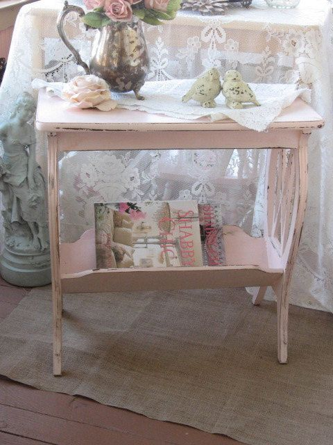 Shabby Chic Pink Table - Vintage Lyre Table - Magazine Rack Shabby Cottage  Chic, Chippy distressed pink paint, Vintage end stand