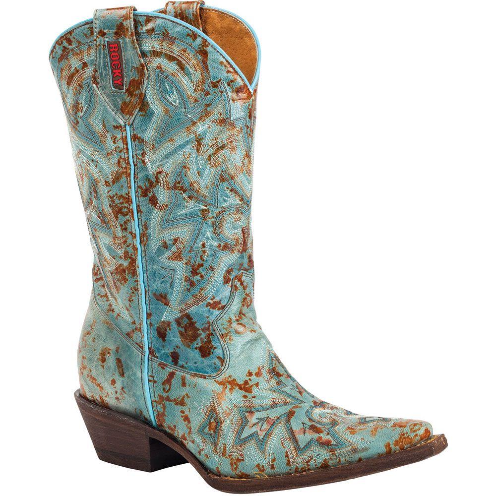 RW020 Rocky Women's HandHewn LB Western Boots - Light Blue | Rocky ...