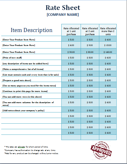 rate sheet template | Microsoft Templates | Pinterest | Template ...