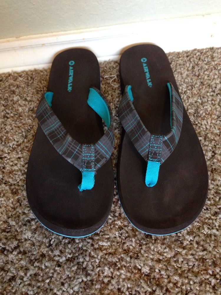 d2ce444d5 Womens Airwalk Flip Flops Sandals Brown Blue 9  airwalk  FlipFlops ...