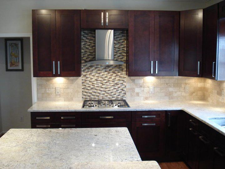 Cherry Kitchen Cabinets With Gray Wall And Quartz Countertops Ideas ...