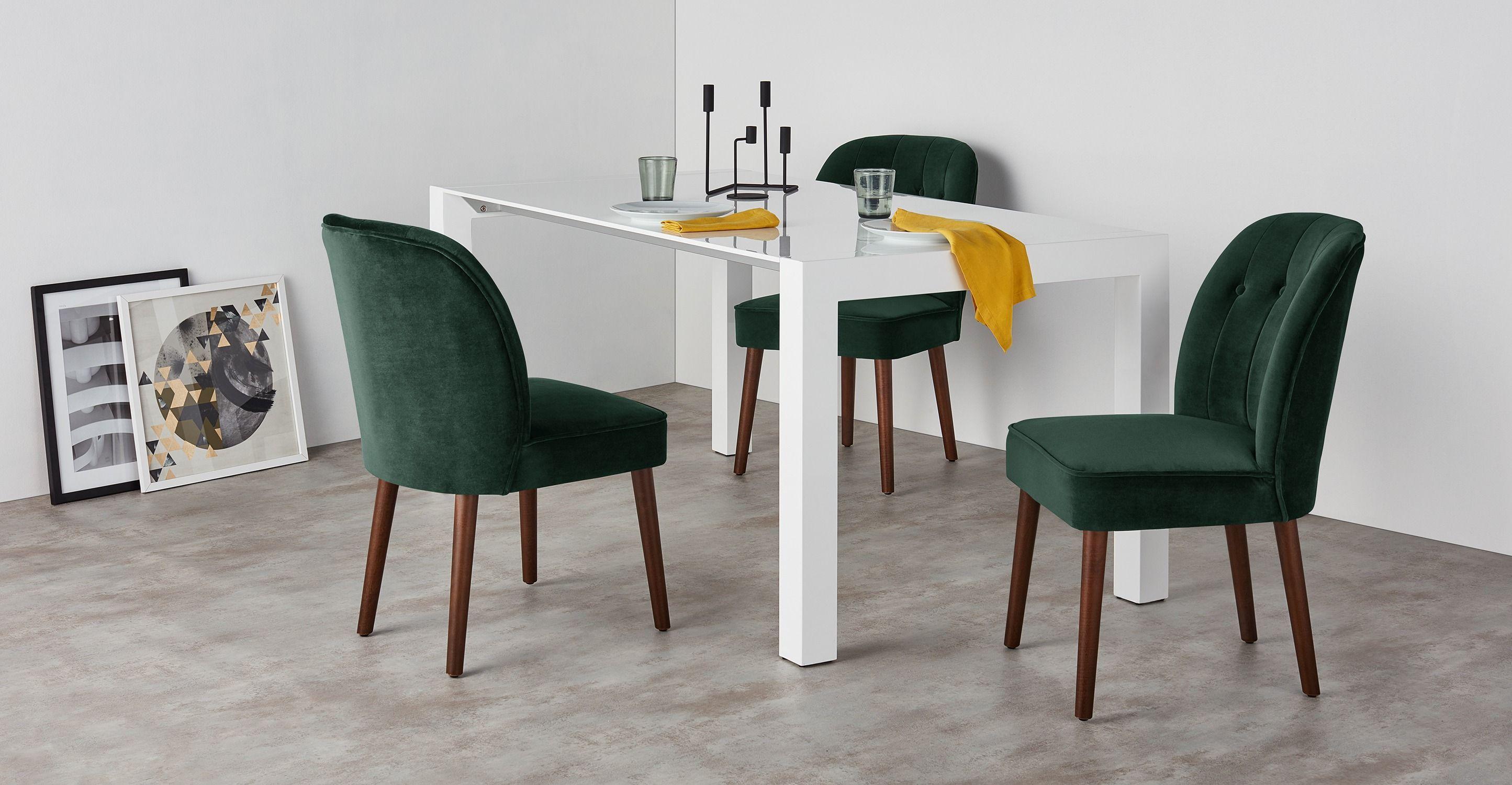 delightful coole dekoration esszimmer stuhl sitzbezuege 2 #4: 2 x Margot Polsterstühle, Samt in Tannengrün | made.com