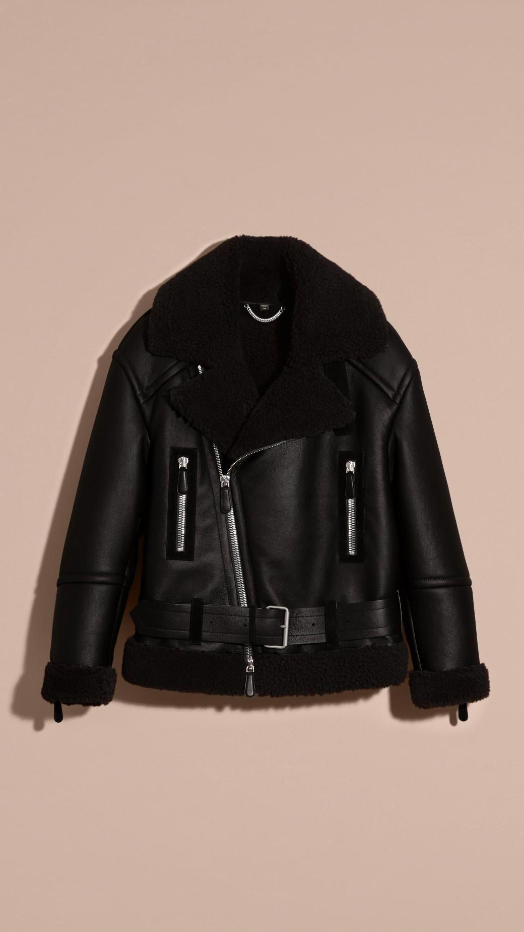 Oversize Shearling Flight Jacket   Burberry #MensFashionEdgy