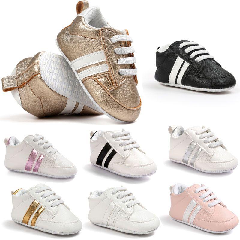 Nieuwe romirus baby mocassins infant antislip pu lederen eerste wandelaar zachte zolen pasgeboren 0-1 jaar sneakers branded baby schoenen