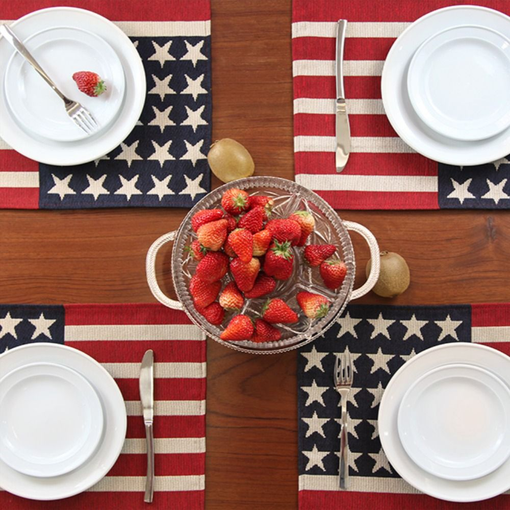 Feuille Fourth Of July Placemats Set Of 4 Americana Stars Patriotic Decorations Usa Placemat Patriotic Decorations Holiday Table Decorations Independence Day