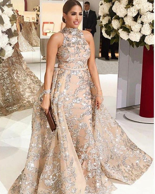 2018 Bling Bling Lace Evening Dresses Dubai Arabic Sequins Prom Gowns  Overskirt Detachable Train Champagne Party Gowns 49fc3cb04b19