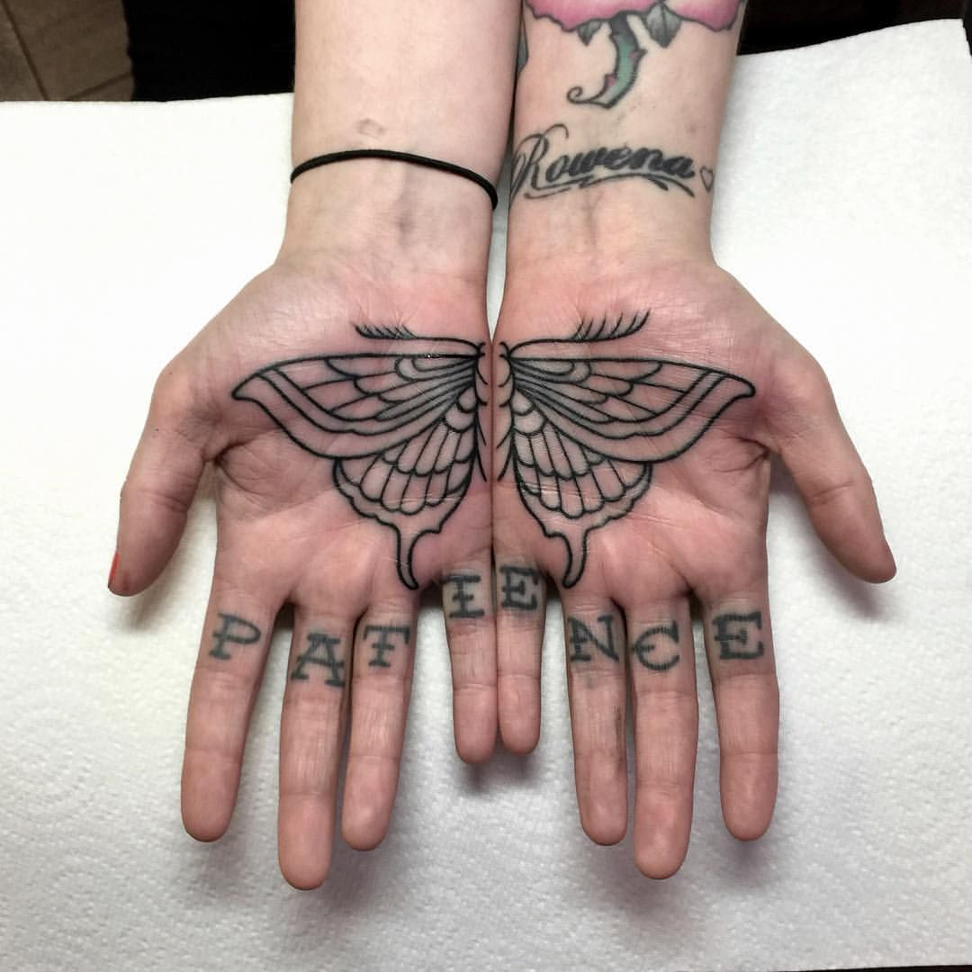 "Photo of Mark Walker on Instagram: ""Alyssa's palms from last week @boldasbrasstattoo  The patience is healed from about 8/9 months ago Walkerxz@hotmail.com"""