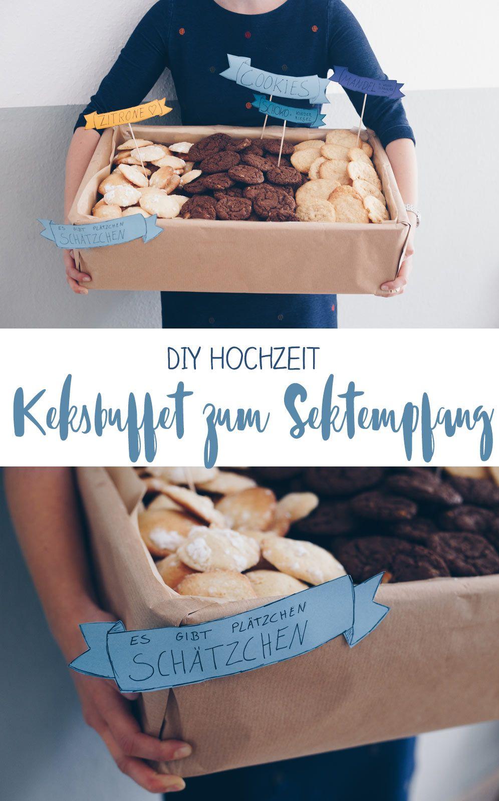 Keksbuffet zum Sektempfang - Idee für die DIY Hochzeit #decorationengagement