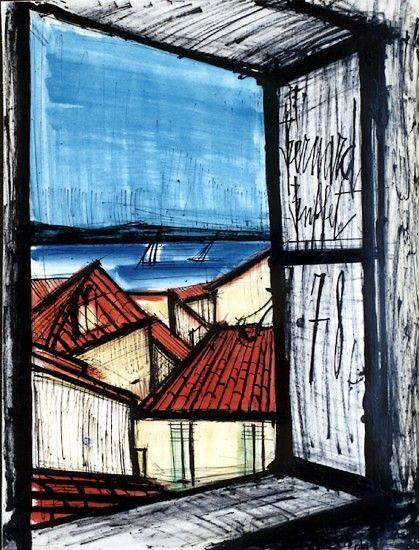 Bernard Buffet, Fenetre ouverte sur Saint-Tropez - 1978 mixed media on paper - 65 x 50 cm