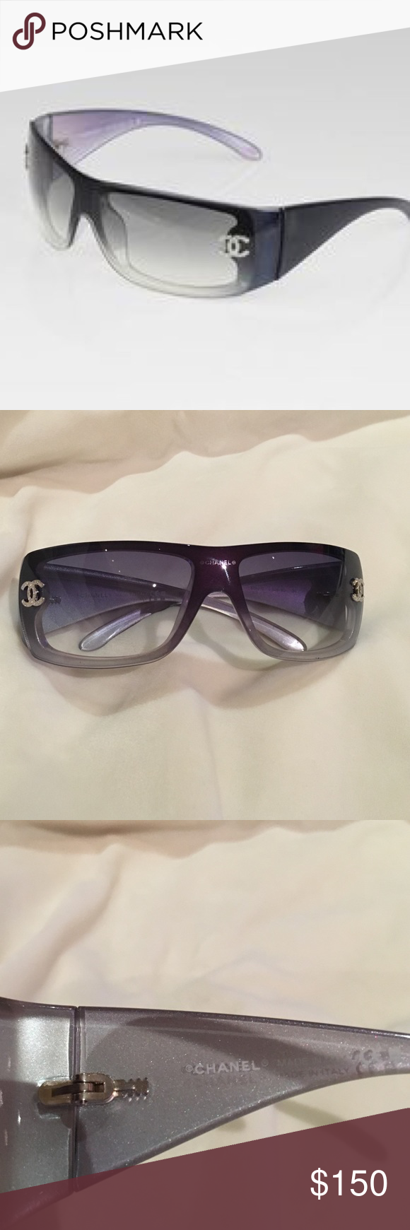9e9ca5a19024 Chanel 5088B Blue Sunglasses with Swarovski CCs Shield style sunglasses.  Authentic. With case. No scratches and all crystals in place on the Chanel  symbols.