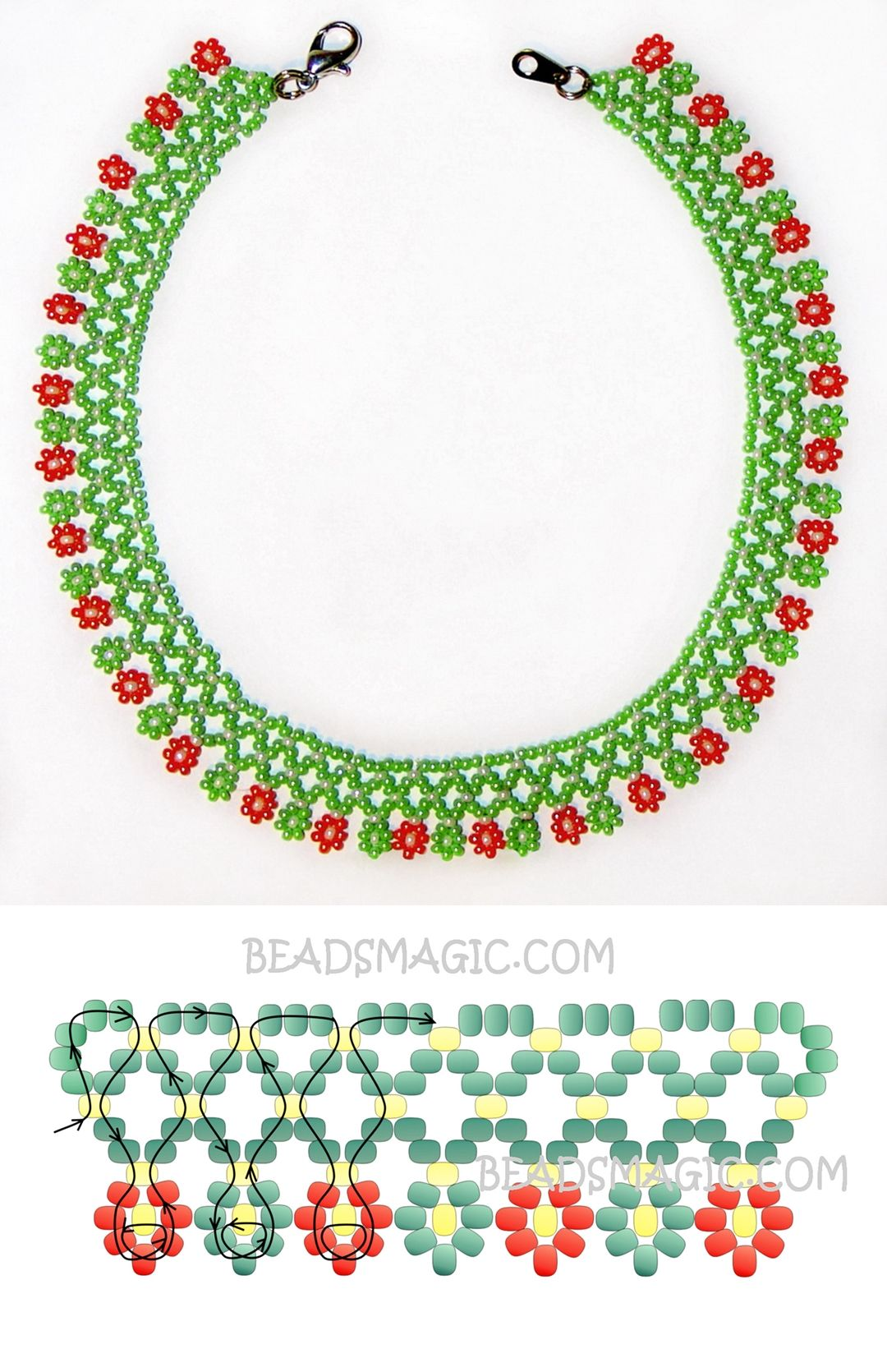 Free pattern for necklace Herbal 11/0 | Joyería | Pinterest ...