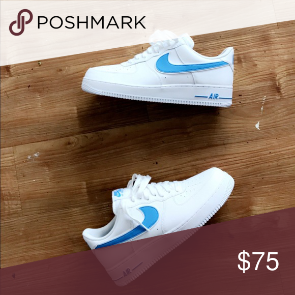 Baby blue and white Nike air force 1s