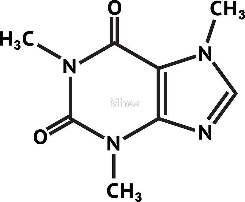 Caffeine Molecule Molecular Structure Sticker By Mhea In 2018