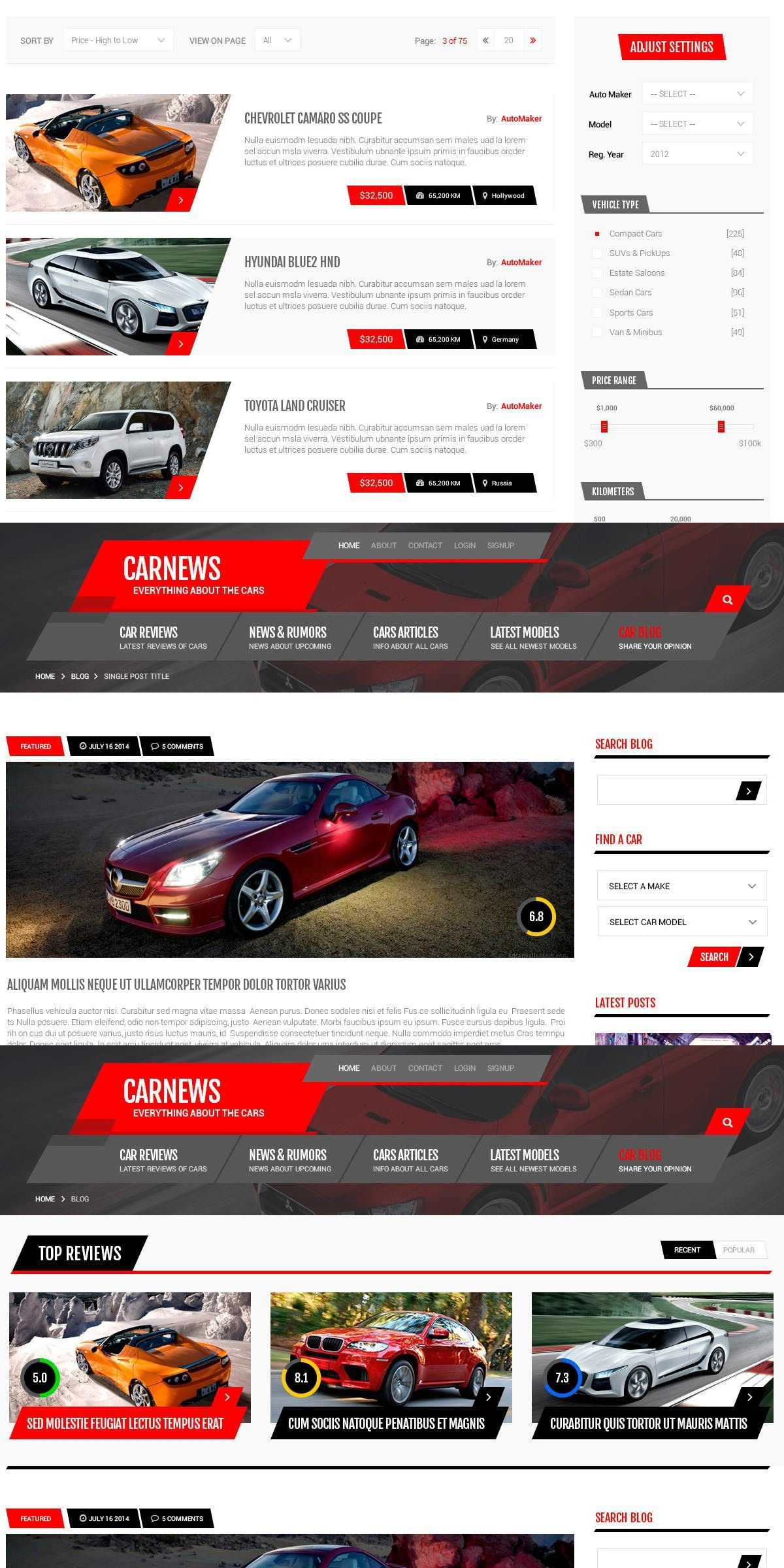 car news - psd template | websites design | psd templates, templates