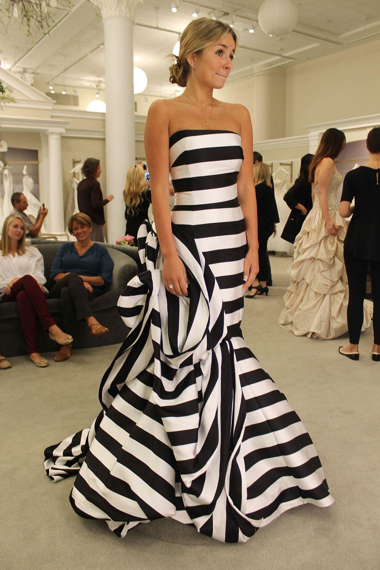 294e9ad58950 David S Bridal Black And White Striped Dress